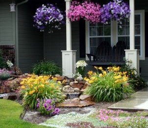 creative landscaping ideas for small front yards hanging basket planters lawn perennials porch swing