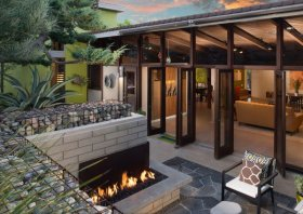 gabion walls patio landscaping ideas outdoor fireplace