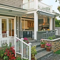 Indoor Outdoor Kitchen on deck,  deck design inspiration ideas