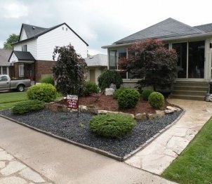 small front yard landscaping designs ideas stone paths shrubs lawn